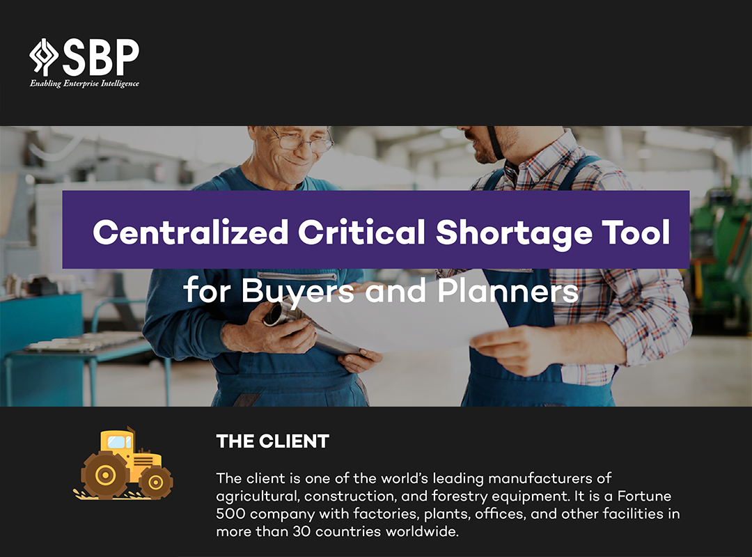Centralized Critical Shortage Tool